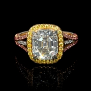 GIA Certified Diamond Antique Style Platinum and 18k Two Tone Gold Halo Engagement Ring