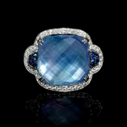 Diamond, Sapphire, White Topaz and Mother of Pearl Lapis Lazuli 18k White Gold Ring