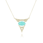 Doves Diamond 18k Yellow Gold Amazonite and Clear Quartz Necklace
