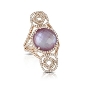 Doves Diamond 18k Rose Gold Pink Mother of Pearl and Amethyst Ring