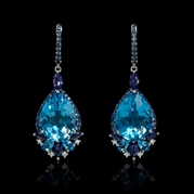 Diamond Sapphire Blue Topaz and Iolite 18k White Gold Dangle Earrings
