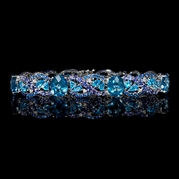 Diamond, Sapphire, London Blue Topaz and Tanzanite 18K White Gold Bracelet