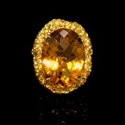 Orange and Yellow Sapphire and Citrine 18k Yellow Gold Ring