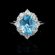 Diamond and Blue Topaz Platinum Ring