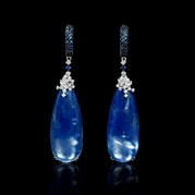 Diamond Sapphire and White Topaz over Lapis Lazuli 14k White Gold Dangle Earrings
