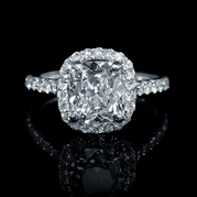 GIA Certified Diamond Platinum Halo Engagement Ring