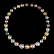 Multi-Colored Pearl 18k Yellow Gold Necklace