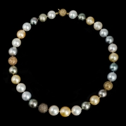 Diamond Multi-Colored South Sea Pearl 18k Yellow Gold Necklace