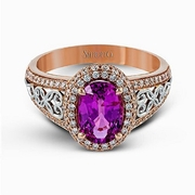 Simon G Diamond and Pink Sapphire 18K Two Tone Gold Ring