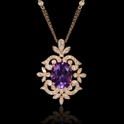 Diamond and Purple Amethyst Antique Style 18k Rose Gold Pendant