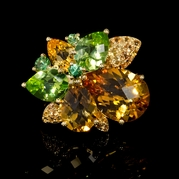 Yellow Sapphire Green Gartnets Citrine and Peridots 18k Yellow Gold Ring