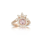 Little Bird Collection Diamond and Rose Finch Pink Morganite 18k Rose Gold Halo  Engagement Ring