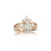 Little Bird Collection Diamond and White Topaz 18k Rose Gold Engagement Ring