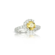 Little Bird Collection Diamond and Canary Yellow Beryl 18k White Gold Engagement Ring