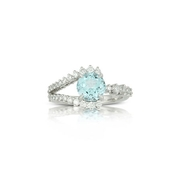 Little Bird Collection Diamond and Blue Topaz 18k White Gold Engagement Ring