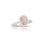 Little Bird Collection Diamond and Rose Finch Pink Morganite 18k Two Tone Gold Halo Engagement Ring