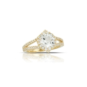 Little Bird Collection Diamond and White Topaz 18k Yellow Gold Halo Engagement Ring
