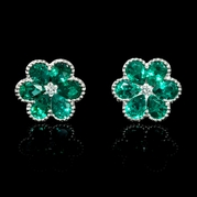 Diamond and Emerald Antique Style 18k White Gold Floral Cluster Earrings