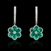 Diamond and Emerald Antique Style 18k White Gold Cluster Floral Earrings