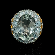 Green Sapphire Green Amethyst Aquamarine and Citrine 18k White Gold Ring