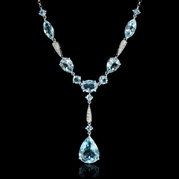 Diamond and Aquamarine 18k White Gold Pendant Necklace