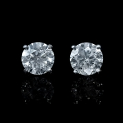 Diamond 1.08 Carats 18k White Gold Stud Earrings