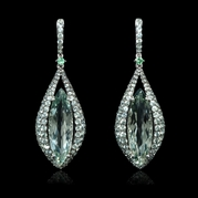 Green Amethyst Tourmaline and Sapphire 18k White Gold Dangle Earrings