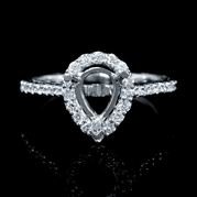 Diamond Antique Style 18k White Gold Engagement Ring Setting