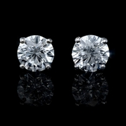 Diamond 3.08 Carats 14k White Gold Stud Earrings