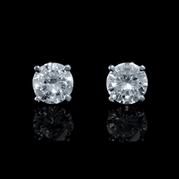 Diamond .82 Carats 14k White Gold Stud Earrings