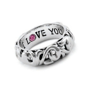 Charles Krypell Sterling Silver Pink Sapphire Say I Love You Ring
