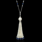 Diamond White and Blue Sapphire and South Sea Pearl 18k White Gold Pendant Necklace