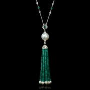 Diamond Sapphire South Sea Pearl and Emerald 18k White Gold Pendant Necklace