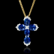 Diamond and Blue Sapphire 18k White Gold Cross Pendant