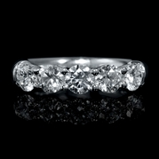Diamond 18k White Gold 5 Stone Wedding Band Ring