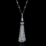 Diamond Tanzanite and White Topaz 18k White Gold Tassel Pendant Necklace