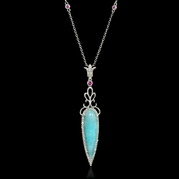 Diamond Pink Sapphire and Amazonite 18k White Gold Pendant Necklace