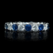 Diamond and Blue Sapphire 18k White Gold Eternity Wedding Band