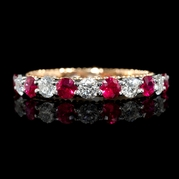 Diamond and Ruby 18k Two Tone Gold Ring