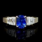 Diamond and Ceylon Sapphire 18k Two Tone Gold Engagement Ring