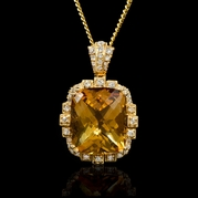 Diamond and Citrine 18k Yellow Gold Pendant