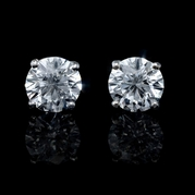 Diamond 3.02 Carats 14k White Gold Stud Earrings