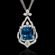 Diamond Blue Topaz and Sapphire 18k White Gold Pendant