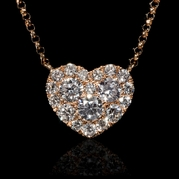 Diamond 18k Rose Gold Heart Pendant Necklace