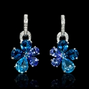 Diamond Blue Sapphires Tanzanite and Blue Topaz 18k White Gold Dangle Earrings