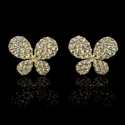 Diamond 18k Yellow Gold Butterfly Cluster Earrings