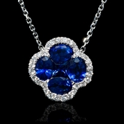 Diamond and Blue Sapphire 18k White Gold Pendant Necklace
