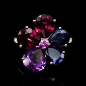 Diamond Iolite Amethyst and Pink Sapphire 18k White Gold Ring