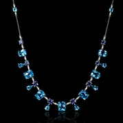 Diamond Blue Topaz and Tanzanite 18k White Gold Necklace