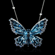 Diamond Blue Sapphire and Blue Topaz 18k White Gold Butterfly Pendant